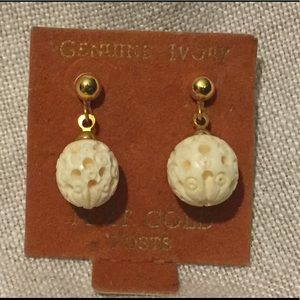 Carved Ivory Vintage dangle earrings
